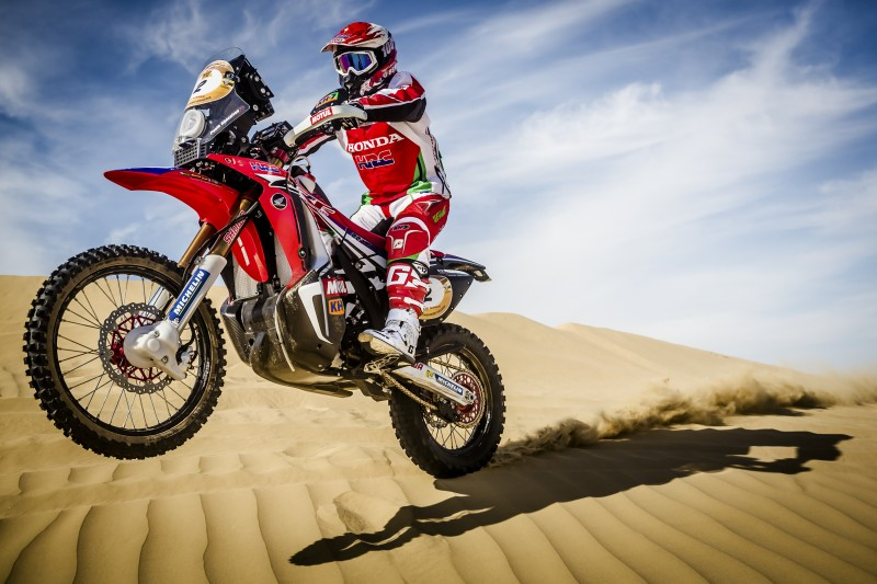 Great stage for Paulo Goncalves. Second win for the Honda CRF450 RALLY