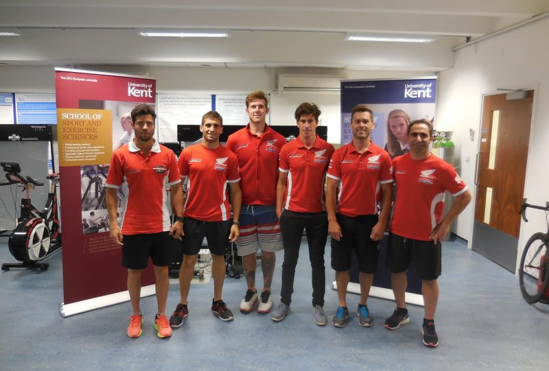 Team HRC riders pass the University of Kent's medical testing