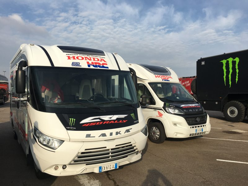 south america bound monster energy honda team load the vehicles in le havre. Black Bedroom Furniture Sets. Home Design Ideas