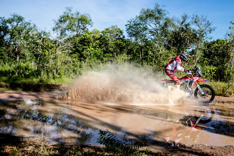 The Honda CRF450 RALLYs of the Monster Energy Honda Team get off to a swift start in the Dakar Rally