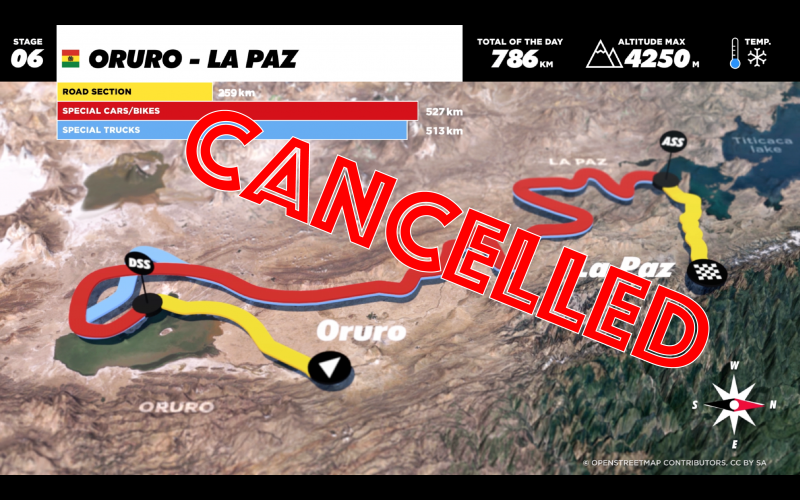 The longest special stage of the Dakar 2017 cancelled
