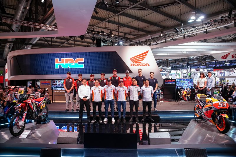 The Honda team for the 2019 Dakar on show in Milan