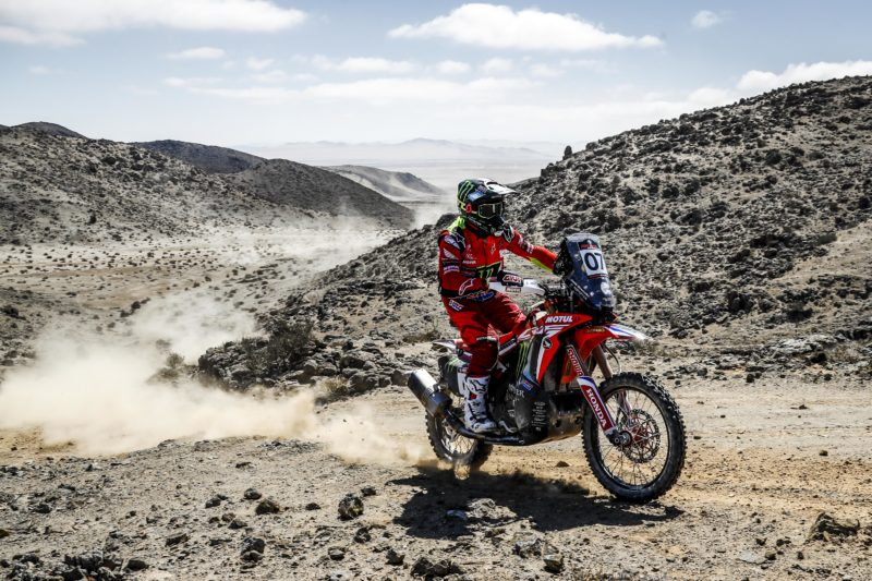 One-two for Monster Energy Honda as Kevin Benavides takes the leadership in the second stage of the Atacama Rally