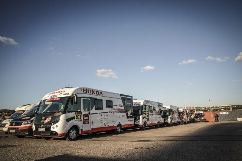 Monster Energy Honda Team vehicles en route to Saudi Arabia