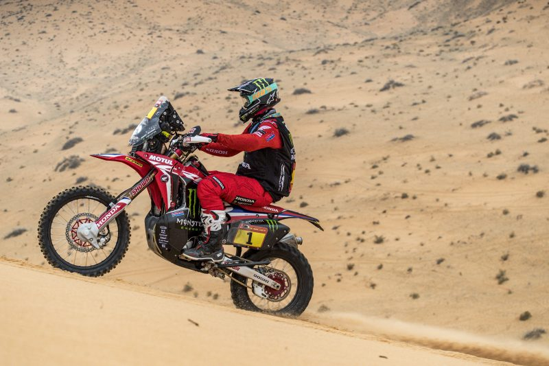Brabec and Cornejo claim another Monster Energy Honda Team one-two at stage seven. The Chilean rider, new leader of the rally